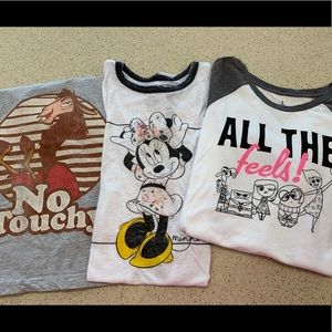 Three Disney graphic women's tshirts